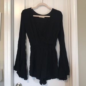 A&F Black wrap-front bell-sleeve romper